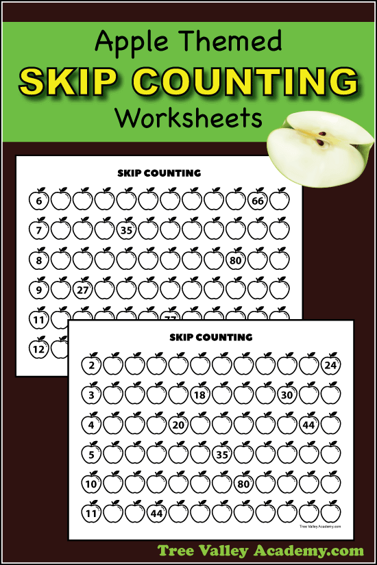 Apple themed skip counting worksheets. Kids can practice learning to count by 2's all the way to counting by 12's. #applemath #appleworksheets #skipcounting #multiplication #treevalleyacademy