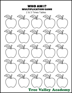 "Kids can have fun practicing their multiplication tables with this ""Who Am I?"" multiplication game. #freeprintables #applemath #multiplicationgames #appleworksheets #multiplication #treevalleyacademy"