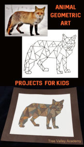 How to make geometric animal art for kids. Kids can pick their favourite animal and turn it into geometric art. Easily make handmade greeting cards with their geometric art projects. #mathart #animals #treevalleyacademy