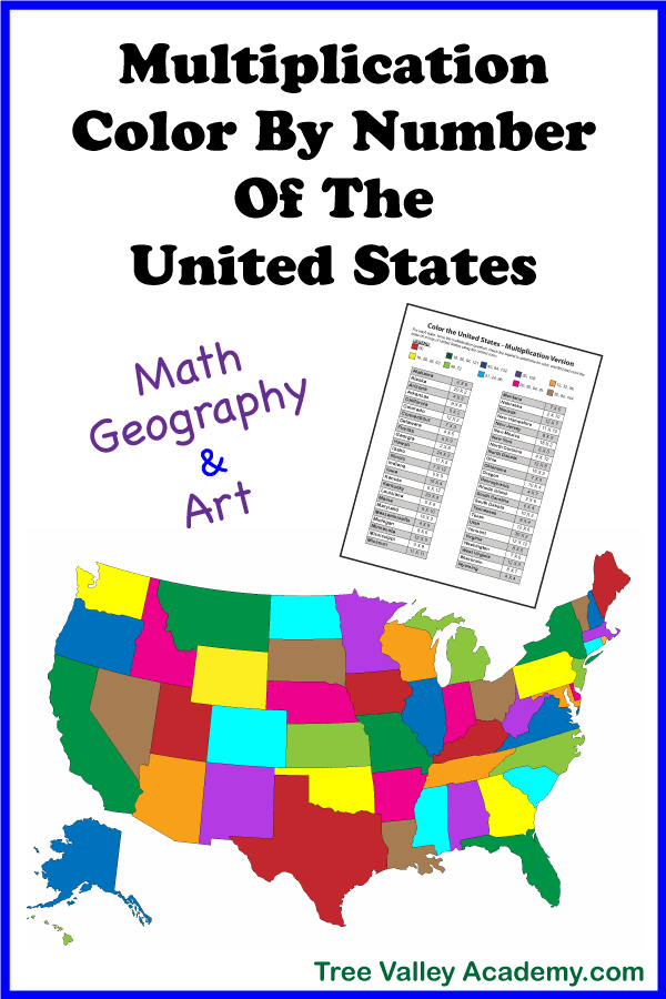 A color by number multiplication activity for kids that combines math, geography and art. Kids practice their multiplication and learn the names of the states in this coloring worksheet.  #mathart #multiplication #colorbynumber #geography #unitedstates #USA #treevalleyacademy