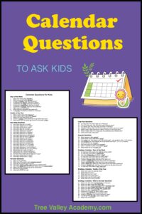 2 pages of printables of 91+ calendar questions to ask kids