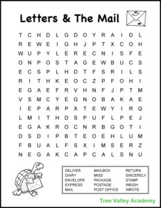 4th grade word search with mail and letter writing theme. Free printable word search with answers included. #letterwriting #grade4 #treevalleyacademy #wordsearch #mailtheme