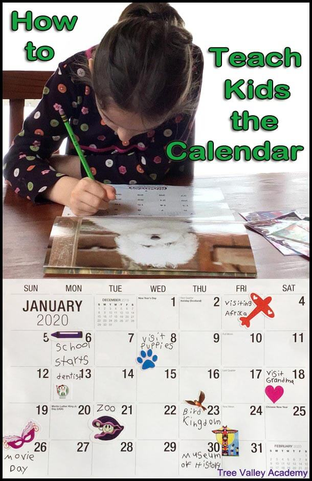How to teach calendar skills to kids and help children learn how to read a calendar.  Includes a lesson plan for teaching kids calendar skills and tips on doing daily calendar time. #math #calendar #homeschooling #treevalleyacademy