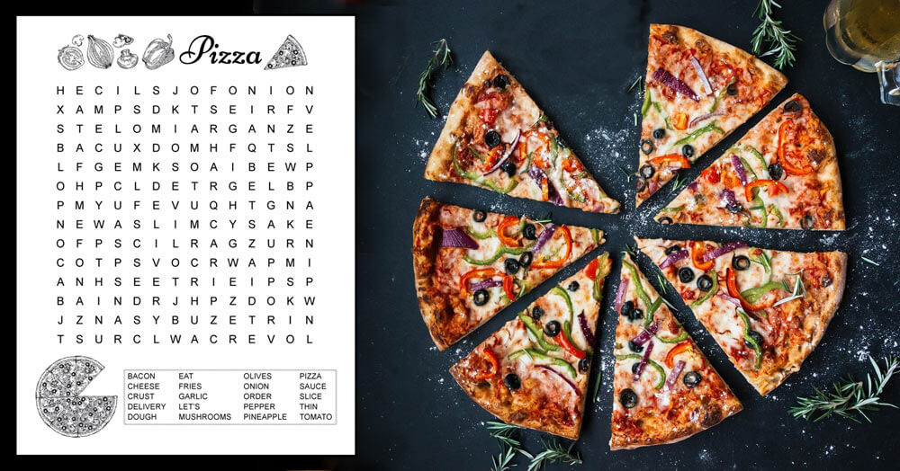 A pizza word search for kids with 20 hidden pizza themed words in a 14 X 14 grid of letters.  The word search puzzle prints in black and white, and is free to download.  The printable pdf includes answers. #pizza #pizzaunit #wordsearch
