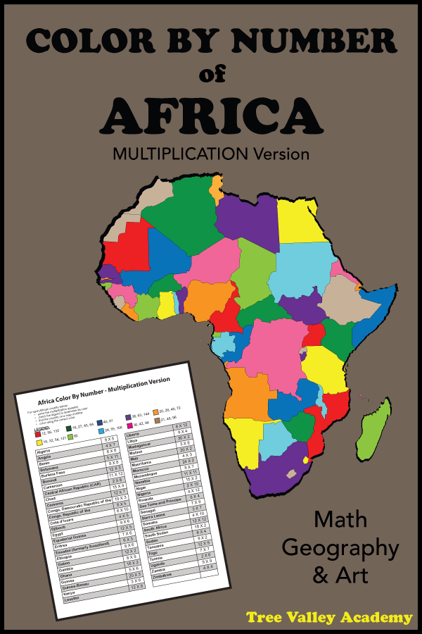 A multiplication coloring activity.  Kids will practice their multiplication while learning the names and locations of African countries. A color by number activity for kids that combines math, geography and art.    #mathart #multiplication #colorbynumber #geography #Africa #treevalleyacademy