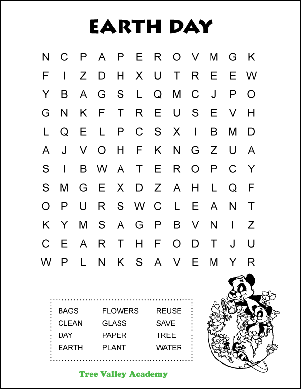 Free printable easy Earth Day word search for kids.  Ideal for early elementary aged kids around 1st or 2nd grade.  12 hidden words to find.  PDF includes answer sheet. #earthday #kidsactivity #wordsearch  #grade2 #grade1