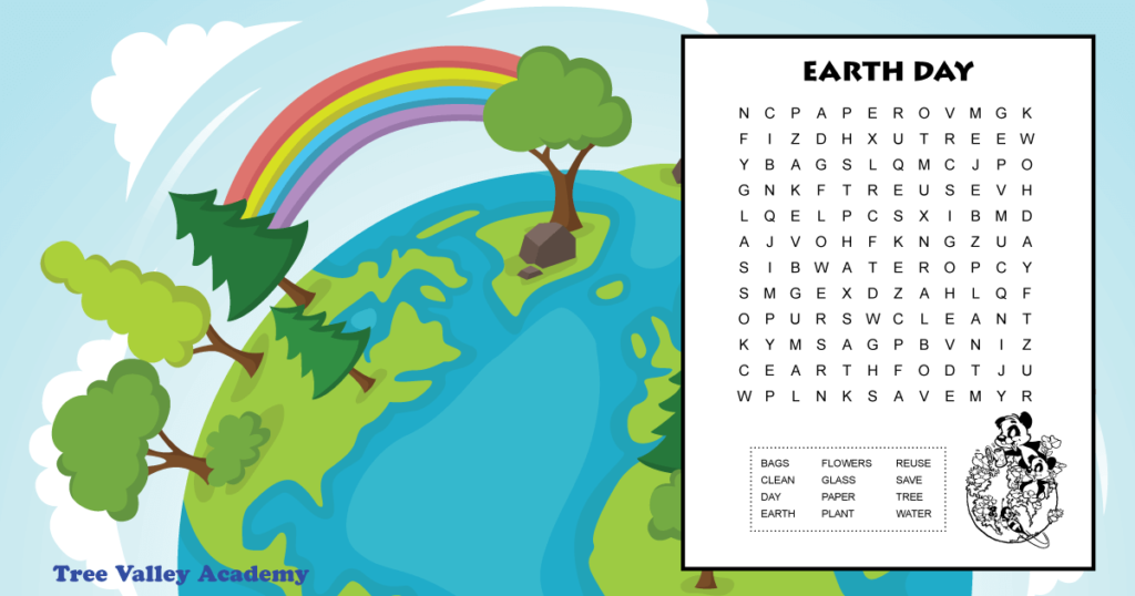 Free printable easy Earth Day word search for kids.  Ideal for early elementary aged kids around 1st or 2nd grade.  12 hidden words to find.  PDF includes answer sheet. #earthday #kidsactivity #wordsearch