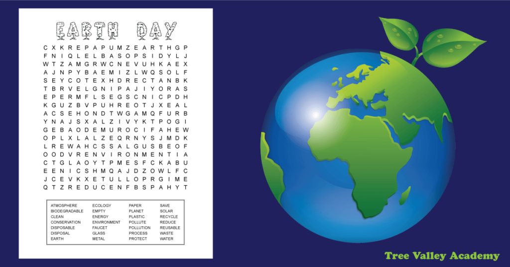 Free printable Earth Day word search for older kids around 6th grade. 28 hidden words with many of them being Grade 6 spelling words. 2 page pdf includes answers. #wordsearch #EarthDay #freeprintables