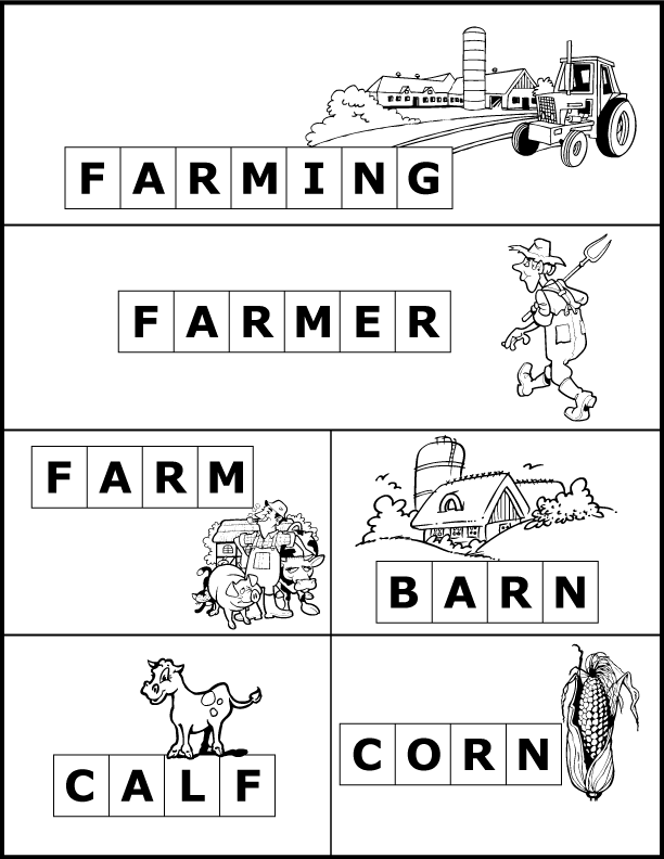 """A spelling activity to go along with the book """"The Cow Loves Cookies"""".  Free printable book activity includes coloring worksheets, word scrambles, and a phonics scavenger hunt with 34 farm related word cards. For preschoolers, kindergarten, 1st grade & 2nd grade students. #bookactivity #homeschool #farmunit"""