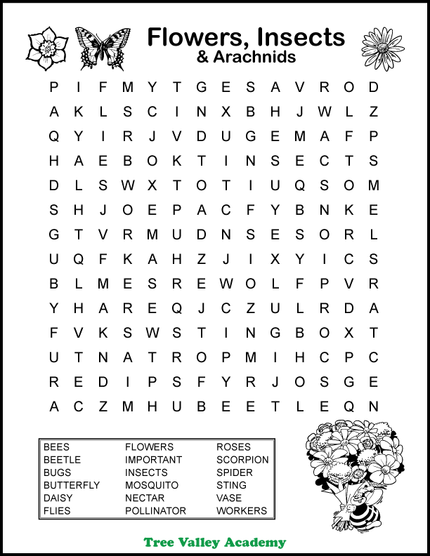 Free printable flowers, insects & arachnids themed word search puzzle for kids around a 4th grade spelling level. 18 hidden words for kids to circle and find. Pdf includes answer sheet.  #wordsearch #grade4