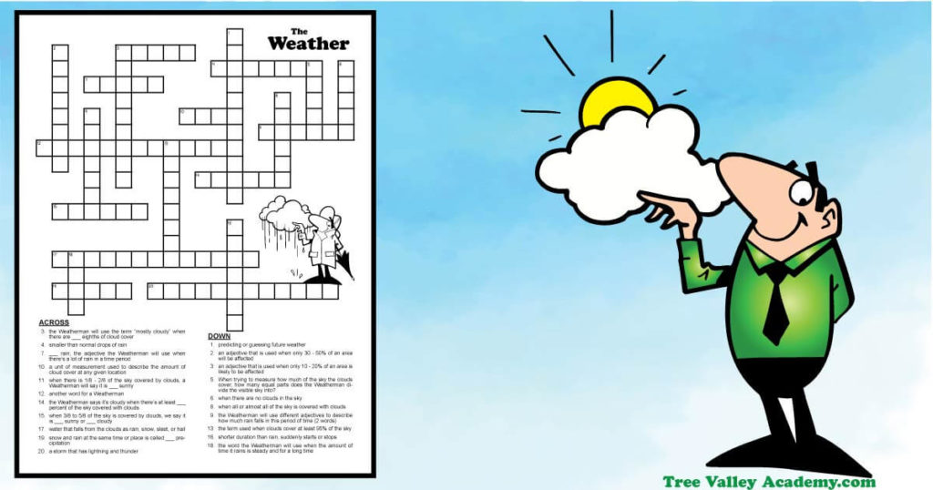 Weather forecast crossword puzzles for students around grades 5-6 or older.  A free kids glossary will teach kids the weather vocabulary and they can practice their knowledge with the crossword puzzle.  This worksheet focuses on the weather forecast terms describing the clouds, sun or rain. Free printable pdf includes answer key.  #weather #crosswordpuzzle #forecasting #weatherunit #grade6 #homeschooling