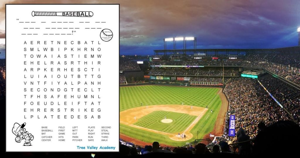 Free printable baseball word search for kids with a secret message. The majority of the 25 hidden words are at a 3rd grade spelling level. The pdf includes answer sheet. #baseball #grade3 #wordsearch