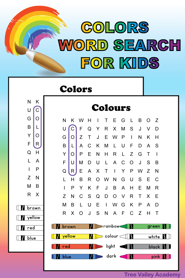 Free printable color word search best for early elementary students.  12 hidden color words for kids to find and circle. It doesn't matter if you spell it color or colour there's 2 versions of the puzzle, each with one of the spellings.  The words are at a 2nd grade spelling level.  Pdf includes answer page.