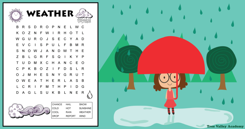 weather word search on background of rain in nature with a girl standing in puddle holding an umbrella