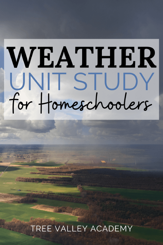 view of clouds with dark gray storm clouds above land below.  Weather Unit Study for Homeschoolers text on image.