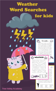 Cat in raincoat holding umbrella under lightning and rain cloud beside 3 printable weather word searches for kids.