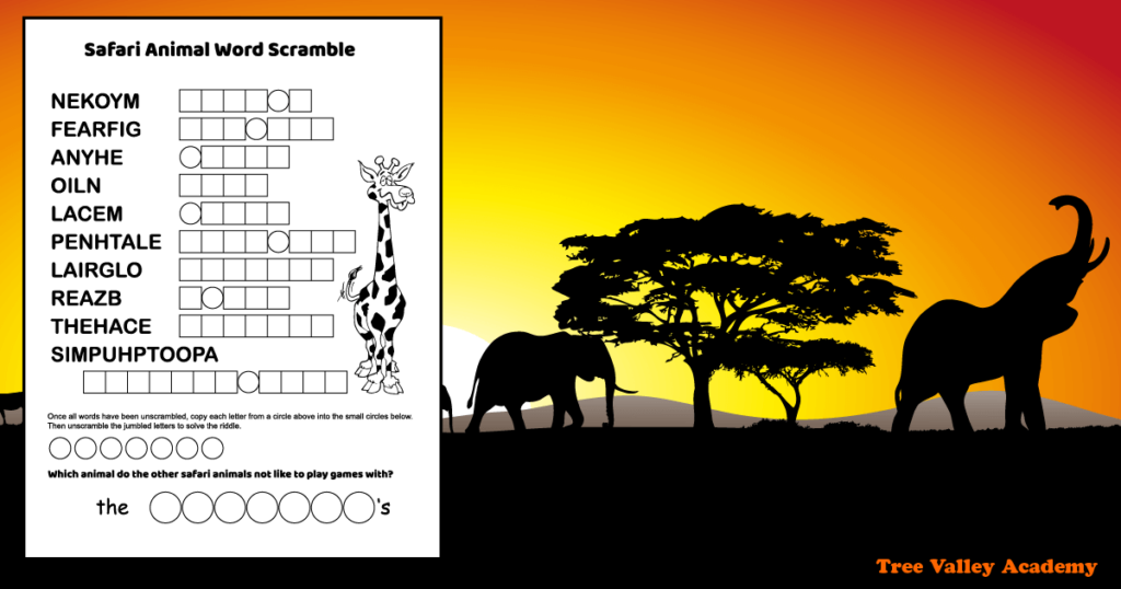 a printable safari animals word scramble for kids, on an African savanna background with the silhouettes of elephants at sunrise