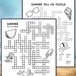 2 summer themed fill in puzzles for kids. The puzzles print in black and white and have summer pictures for kids to color. Pdf includes answers.