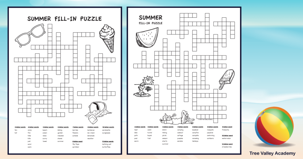 2 printable summer word puzzles on beach background
