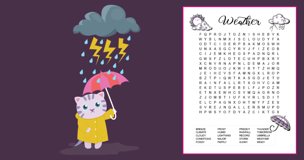 A weather word search for kids printable with 20 hidden words. The majority of the words are at a 5th grade spelling level. The printable is decorated with 3 small images that kids can color if desired: an umbrella, a storm cloud, and a sun behind a cloud. The printable is on a dark purple background with an image of a cat, standing in a puddle, holding an umbrella, under a storm cloud with lightning bolts.