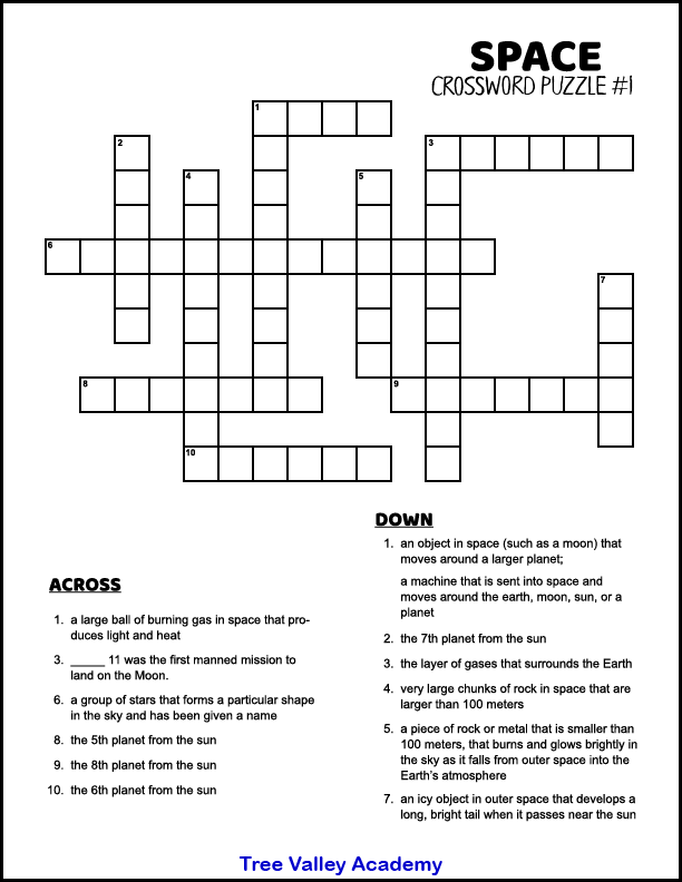 screenshot of space themed crossword puzzle with 12 words down or across