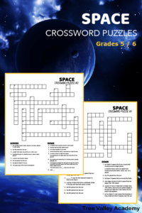 2 printable space themed crossword puzzles for kids in grades 5 or 6