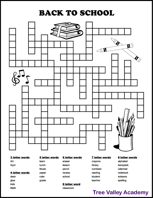 A printable back to school fill in puzzle for kids.  30 school words to fit in.  The words are 3 to 9 letter words.