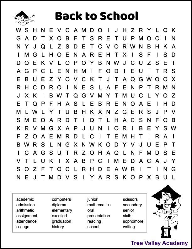 Free printable back to school word search for 6th grade students. 24 hidden words to find and circle in a 19 X 20 grid of letters. Most of the hidden words are 6th grade spelling words.  Black and white printable. There's two images of owls with a graduation hat on.  The one is flying and the other is perched on pencils and a pencil sharpener. Kids can color the images if they wish.