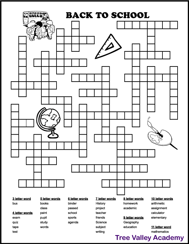 Screenshot of a printable back to school fill in puzzle for kids.  32 school words to fit in.  The words are 3 to 11 letters long.