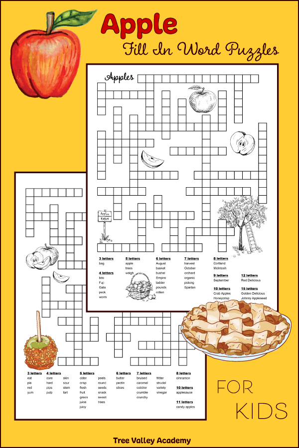 Apple fill in puzzles for kids.  2 free printable word puzzles for kids.  The theme of one of the puzzles is words related to apple picking at an orchard. Another puzzle is focused on food and deserts that are made with apples, and also parts of an apple. Great for improving spelling and learning vocabulary of apple themed words.