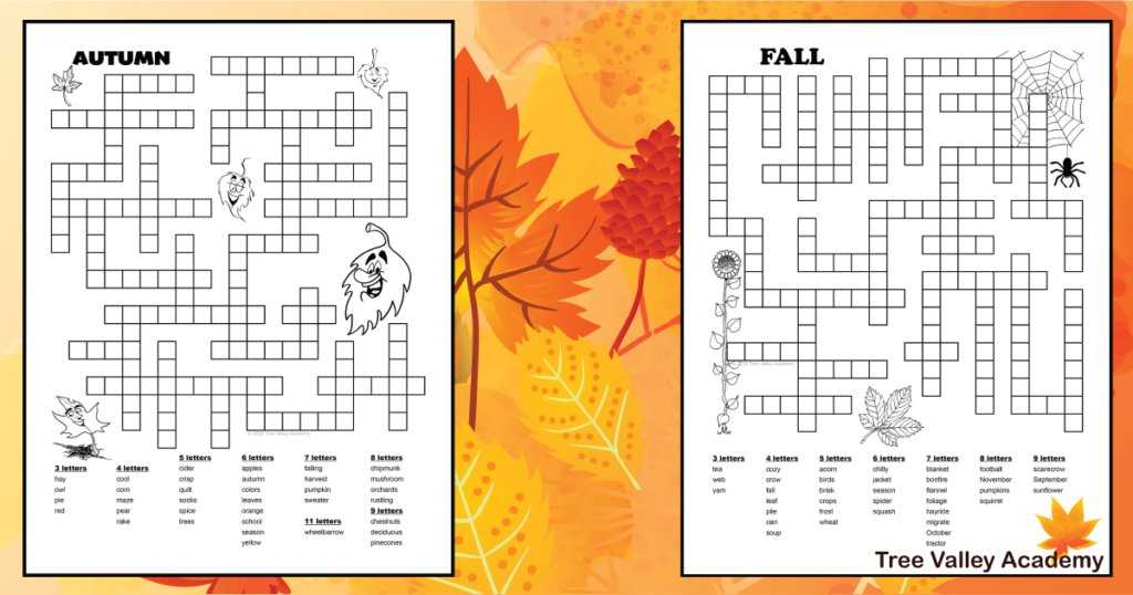 2 autumn fill it in puzzles for kids