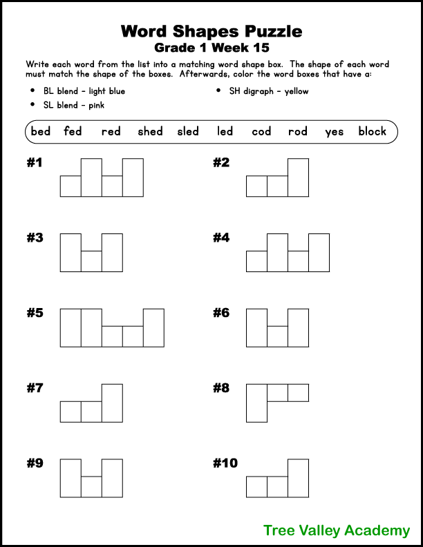 1st Grade Word Shape Puzzles (Weeks 13-16) - Tree Valley Academy