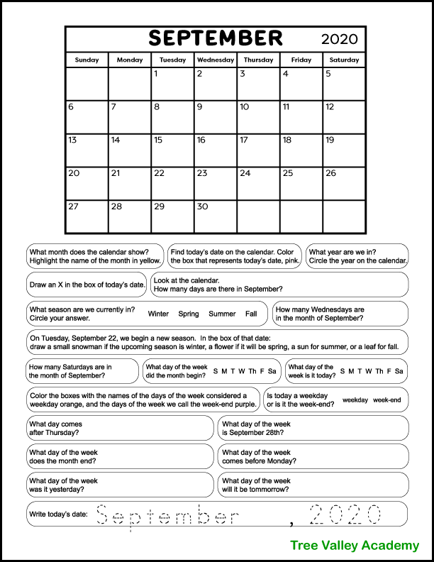 Free printable calendar worksheet for 1st & 2nd grade students using the current month September 2020.  The worksheet is designed to be used throughout the month, answering only one calendar question per day.  Includes questions about the current date, the days of the week, months of the year, seasons, etc. Pdf is free to download & print.