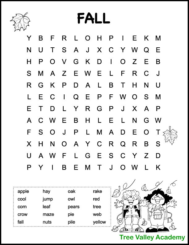 Easy fall themed word search for kids. The puzzle is free and printable and ideal for younger children in grades 1 or 2. 20 hidden fall themed words, most of them 3 or 4 letter words. The page also has a some autumn images for kids to color: 2 falling leaves and a picture of 2 happy kids playing with blowing leaves.