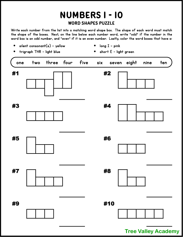 A free printable word shape puzzle that uses the number words from one to ten.  Kids will need to write out the number words in a word box that matches the shape of the word. Afterwards they will color word boxes with silent consonants yellow; a trigraph THR light blue; a long I sound pink; and a short E sound light green.