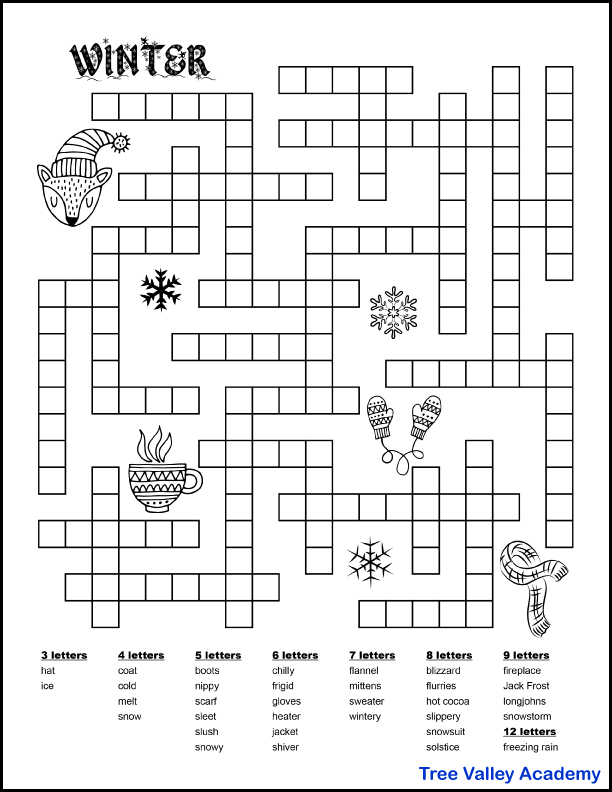 Free printable winter fill in word puzzle for kids.  33 winter themed words (winter clothing and winter weather vocabulary) for kids to fit in the puzzle.  The words to fit in are 3 to 9 letter words and 12 letters.
