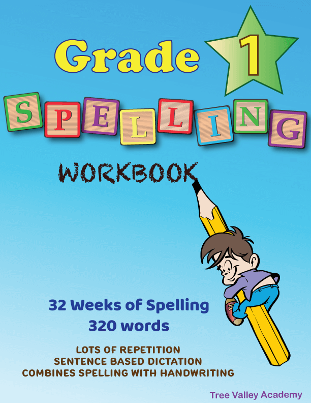 Grade 1 Spelling Workbook - 32 Weeks Lesson Plan Spelling Curriculum For Homeschool. Combines spelling with learning handwriting with a strong focus on lowercase letters. Sentence based dictation provides lots of repetition of previously learned spelling words. 320 words, 254 sentences, 25+ blends & digraphs - Easier Learning with Word Families - Downloadable .pdf
