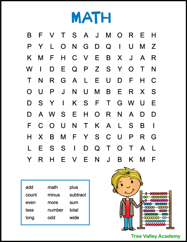 An easy math word search for kids. There are 15 hidden words for kids to find and circle. A beginner level word search puzzle ideal for children in grades 1 or 2. A colourful image of a boy counting on an abacus decorates the page. Pdf includes answer key.