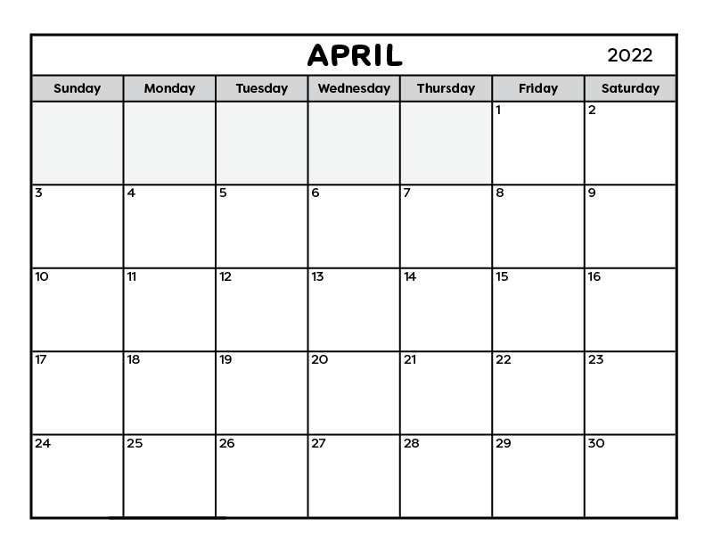 A free printable one page calendar for the month of April 2021.