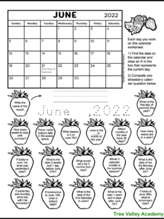 A free printable calendar worksheet for 1st and 2nd grade for the month of June 2022. There's 18 strawberry shapes each containing a calendar question. Kids can color the strawberries as they answer the questions.