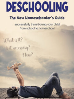 The new homeschooler's guide to Deschooling. Successfully transitioning your child from school to homeschool. What is it? Is it necessary? How? A school aged boy wearing a pilot hat and goggles, lies on his back, barefoot, looking up to the sky, playing with a toy airplane.