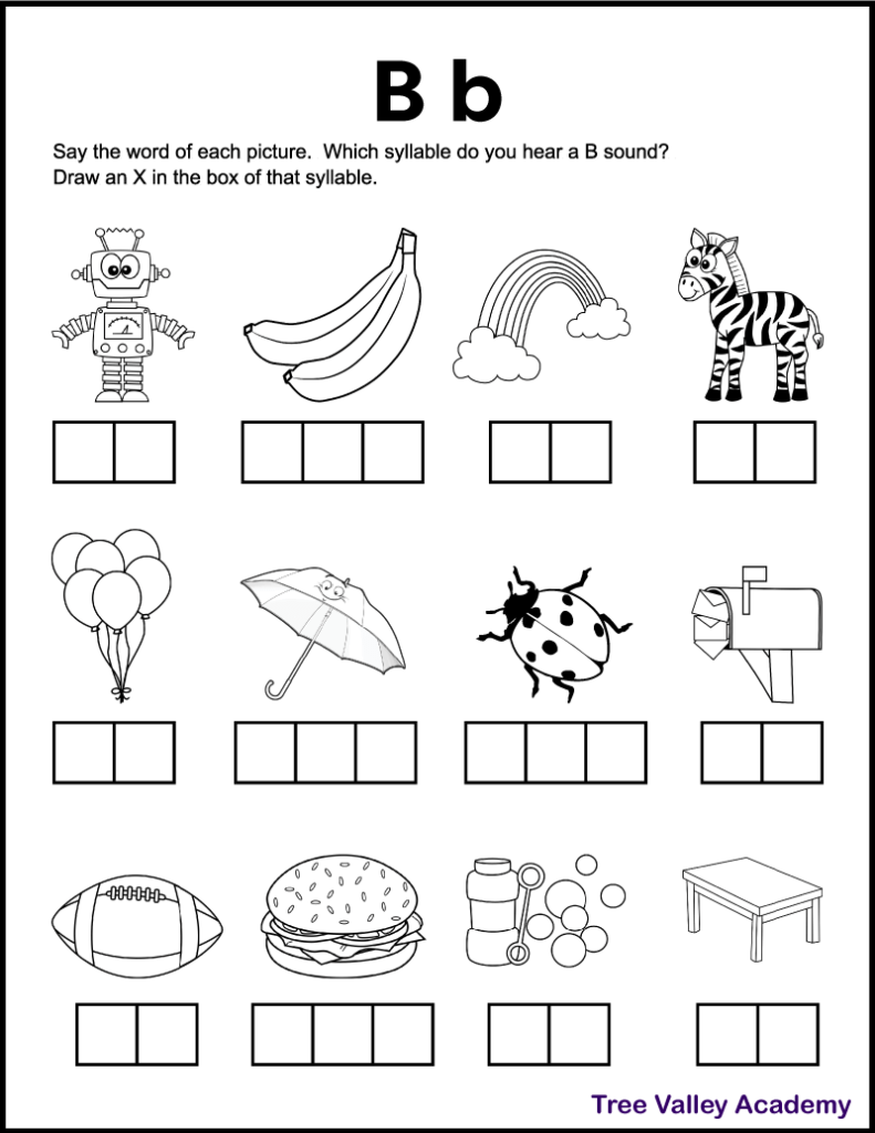 A free printable letter b sound worksheet perfect for 1st grade students. There's 12 black and white images of items and kids need to sound each word out, and identify which syllables contain a B sound. Kids will mark an X in the box representing that syllable. Free downloadable pdf includes answer page.