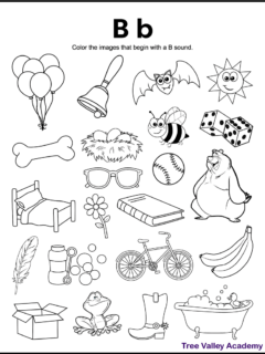 A free printable letter B beginning sound worksheet for kindergarten or grade 1 students. This letter B coloring page has 16 letter B pictures for kids to color.