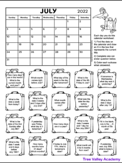 A free printable calendar worksheet for 1st and 2nd grade for the month of July 2021. There's 20 suitcases each containing a calendar question. Kids can color the suitcase as they answer the questions.