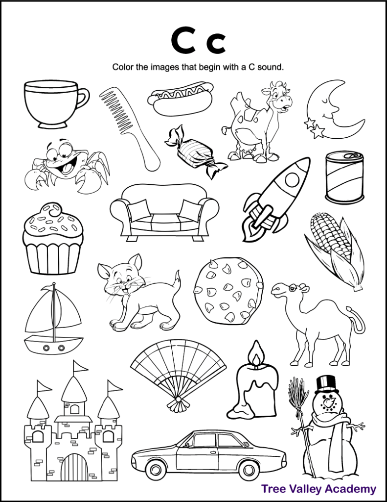 A free printable letter C beginning sound worksheet for preschool or kindergarten students. This letter C coloring page has 21 items.  15 of them are pictures with a hard letter C sound for kids to color.