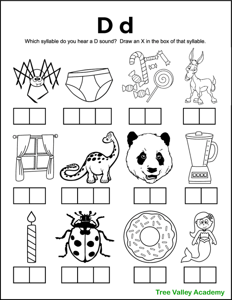 A free printable letter d sound worksheet perfect for 1st grade students. There's 12 black and white images of items and kids need to sound each word out, and identify which syllables contain a D sound. Kids will mark an X in the box representing that syllable. Free downloadable pdf includes answer page.