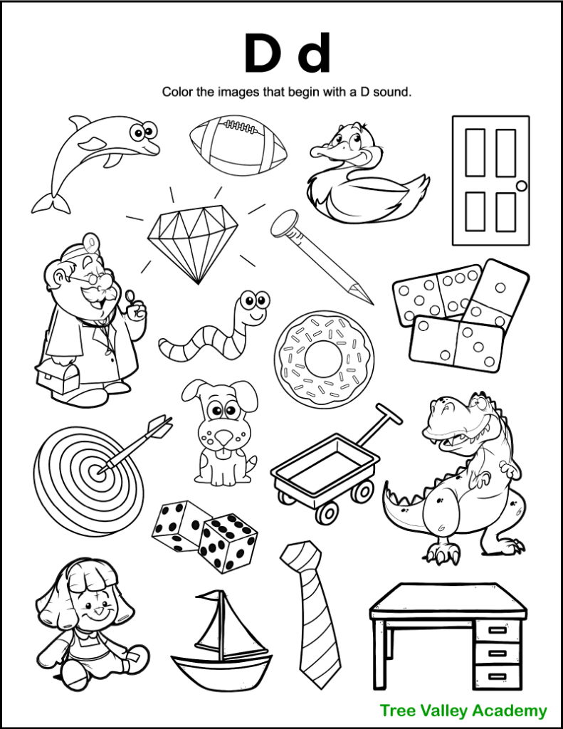 A free printable letter D beginning sound worksheet for kindergarten students. The letter D coloring page has 19 images.  13 items are letter D pictures for kids to color.