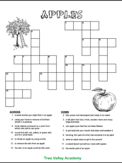 Free printable apple crossword for kids. The black and white crossword puzzle worksheet for grade 2 has an image of an apple tree and an apple that could be coloured. There are 15 clues for kids to solve.