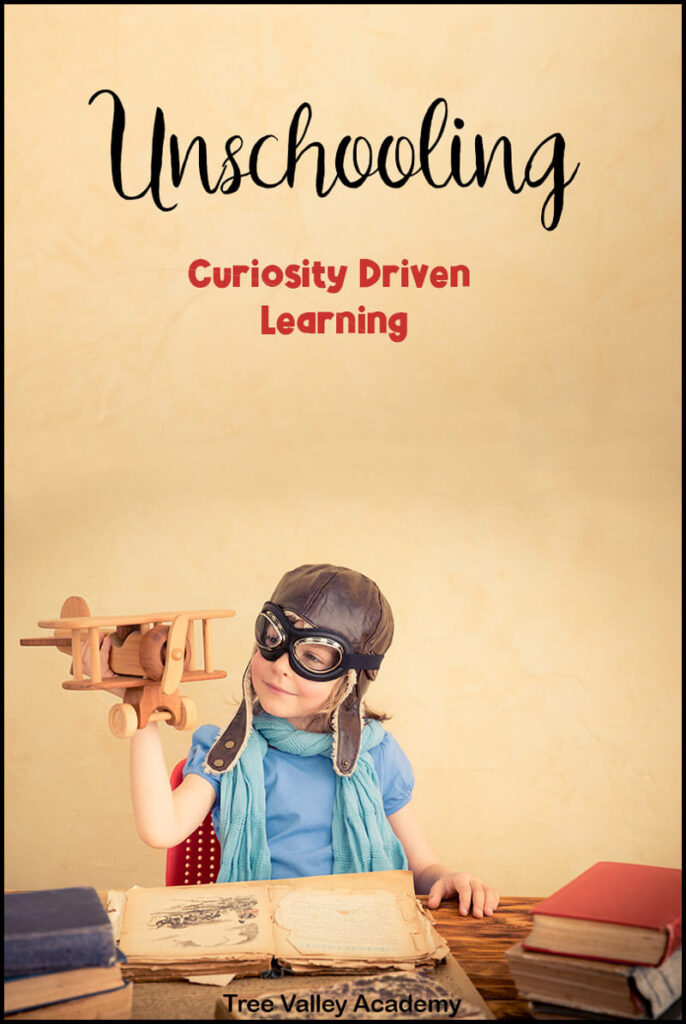 A young child learns by following their interest in airplanes and flight.  The unschooled child imagines himself as a pilot as he plays with a toy airplane.  He wants to learn more so he reads books on the topic of his interest.