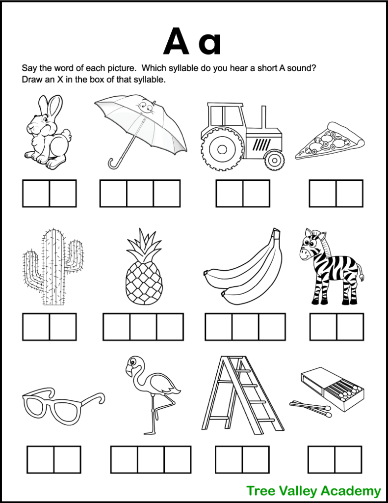 A free printable letter a sound phonics worksheet perfect for 1st grade students. There's 12 black and white images of objects and kids need to sound each word out, and identify which syllables contain a short A sound. Kids will mark an X in the box representing that syllable.